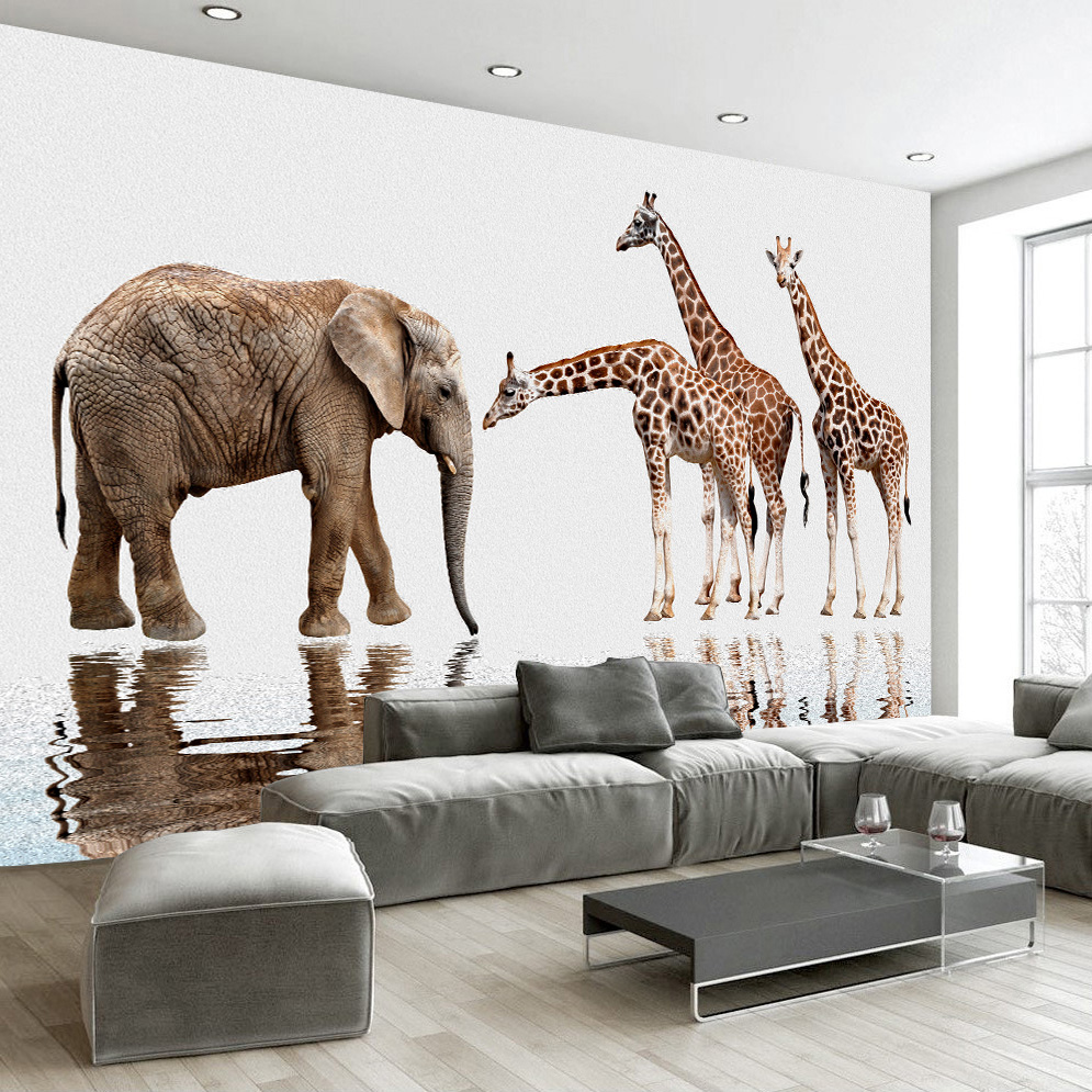 Custom 3D Photo Wallpaper Modern HD Elephant Giraffe Oil Painting ...