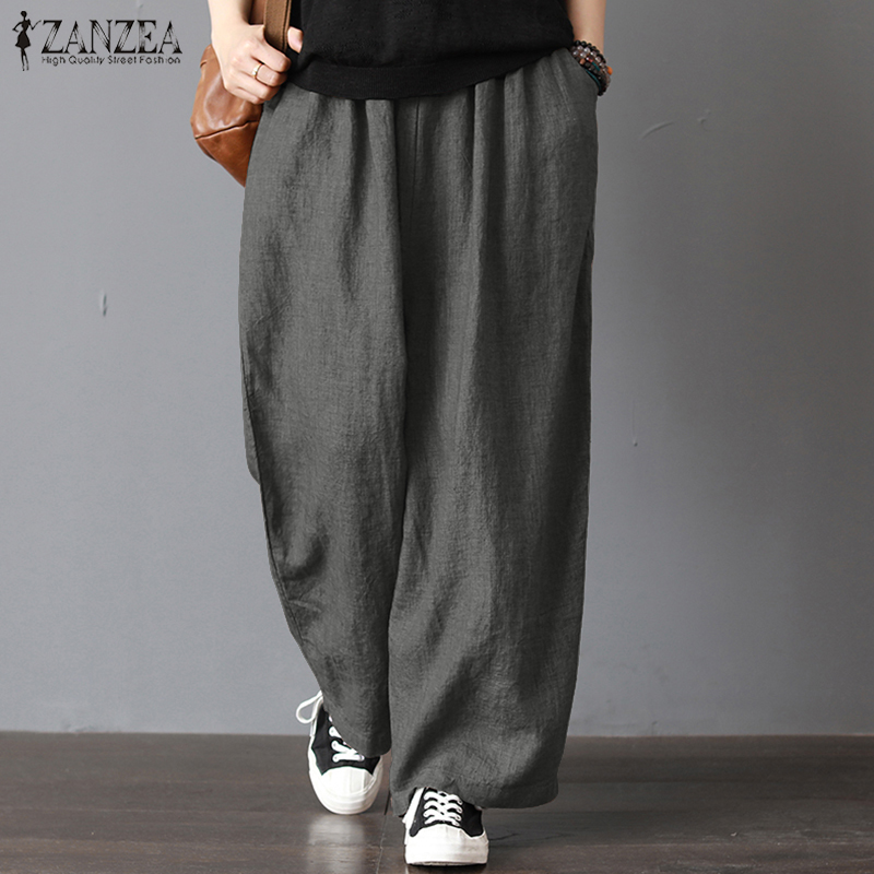 Plus Size   Wide     Leg     Pants   Women Elastic Waist Casual Harem   Pants   2019 ZANZEA Autumn Female Vintage Linen Trouser Pantalon Palazzo