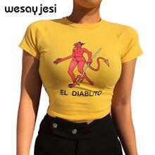5c398929428 Sexy Slim Waist Cropped T-shirt Women Fashion Cotton Cartoon Print t shirt  Summer Yellow Knitted tshirt O-neck Devil Top 2018