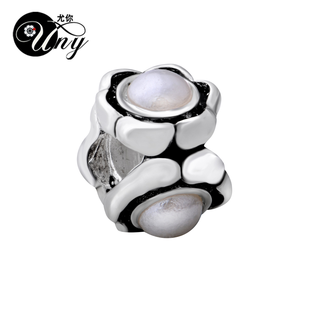 UNY Vintage Unique DIY European bead Fit Pandora charm bracelet guaranteed 100% 925 Silver Three Pearl Spacer Bead Free Ship