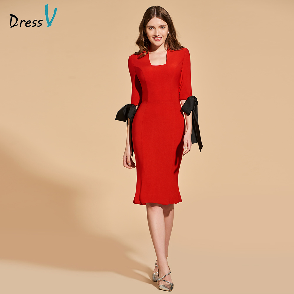 Dressv red bowknot   cocktail     dress   elegant 3/4 sleeves knee length zipper up sheath wedding party formal   dress     cocktail     dress
