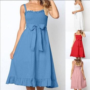 Elegant Ruffles Pleated Women Cotton Dress Ruched High Waist Summer Dresses Pink Spaghetti Strapless Sashes Midi Vestidos