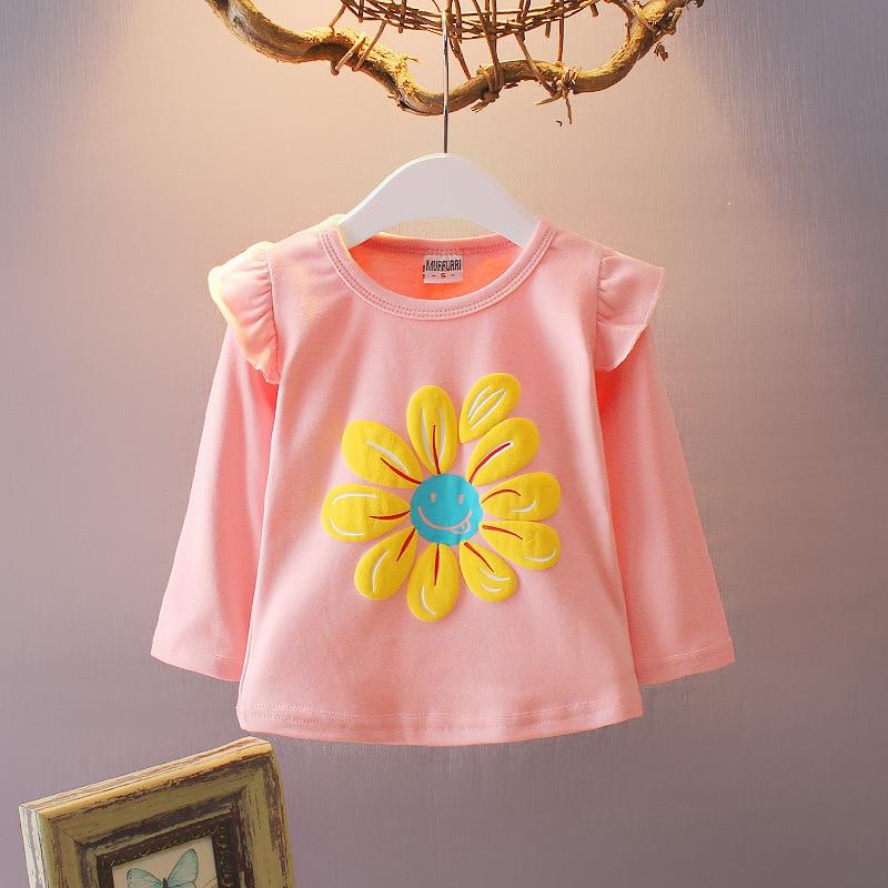 Girls Tops Retail T-shirts for Girls Long Sleeve Infantile Princess Children Cartoon Clothing Kids Children's t-shirts