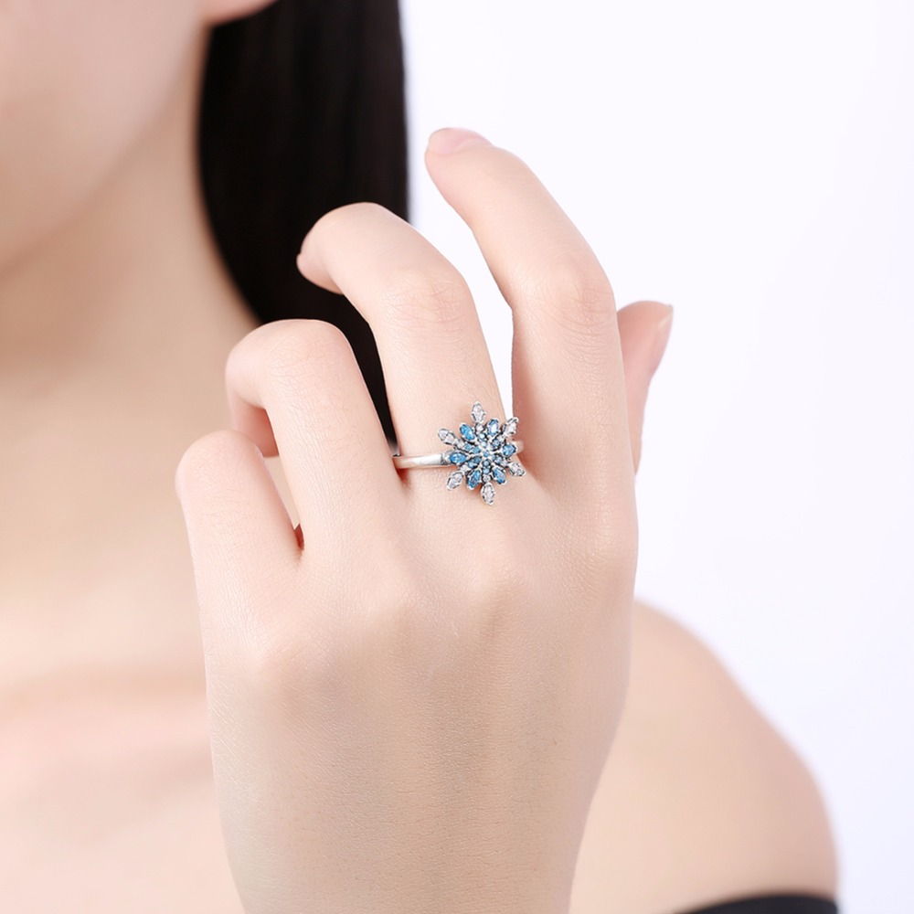 MEEKCAT Real 925 Sterling Silver Crystalized Snowflake Rings With ...