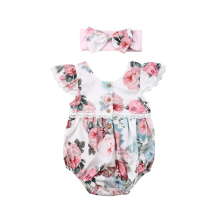 2019 Casual Toddler Newborn Baby Girl Boy Bodysuit Floral Clothes Bib Pants