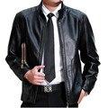 2017 Мода Мужская Кожа Jackes И Пальто Slim Fit Кожа куртки Для Мужчин Байкер Мотоцикл Коричневые Кожаные Куртки Мужчины Плюс размер