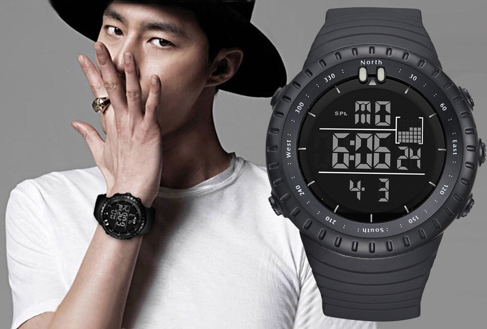 Splendid Fashion Black Sports Rubber Band Men's Digital Army Military Quartz Wrist Watch 763 outdoor sports rubber elastic nylon wrist thumb support black