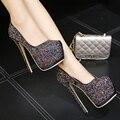 Женская обувь каблуки экстремальные туфли на каблуках 16 см платформа каблуки черный насосы партия обуви для женщин rhinestone свадебная обувь X236