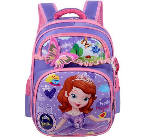 2016 New Orthopedic Breathable Sofia Schoolbag Children Cartoon School Bags For Girls School Backpacks Mochila Infantil