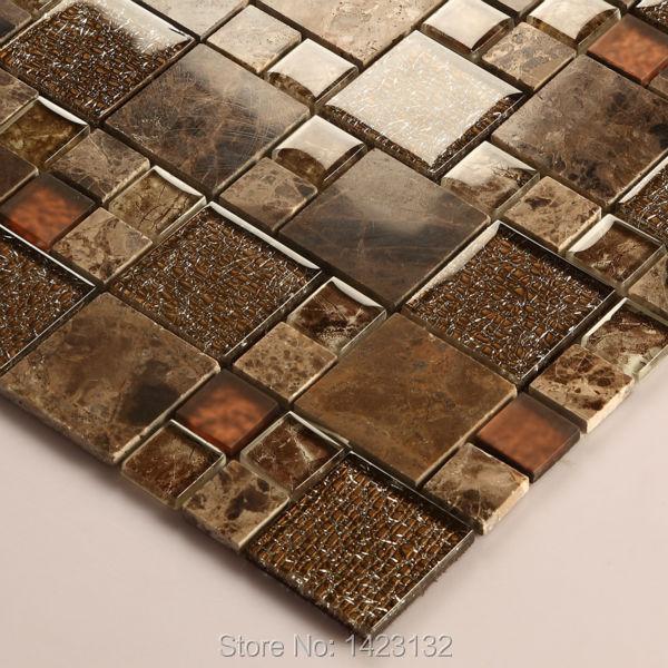 crystal glass tile backsplash kitchen brown glass stone blend mosaic tiles bathroom wall 632 cream marble floor tile patterns