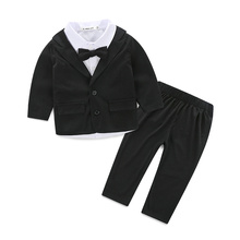Winter baby boy clothes 3 pcs gentleman coat T shirt pants baby clothing sets baby born