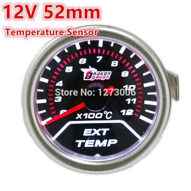 Hot 1PCS 12V 52mm Universal Car EGT Exhaust Gas Temperature Temp Gauge LED Display Red Free Shipping