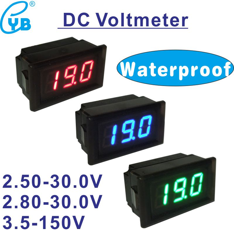 Waterproof DC 2.5 to 30V Red LED Panel Meter DC Digital Voltmeter Two-wire