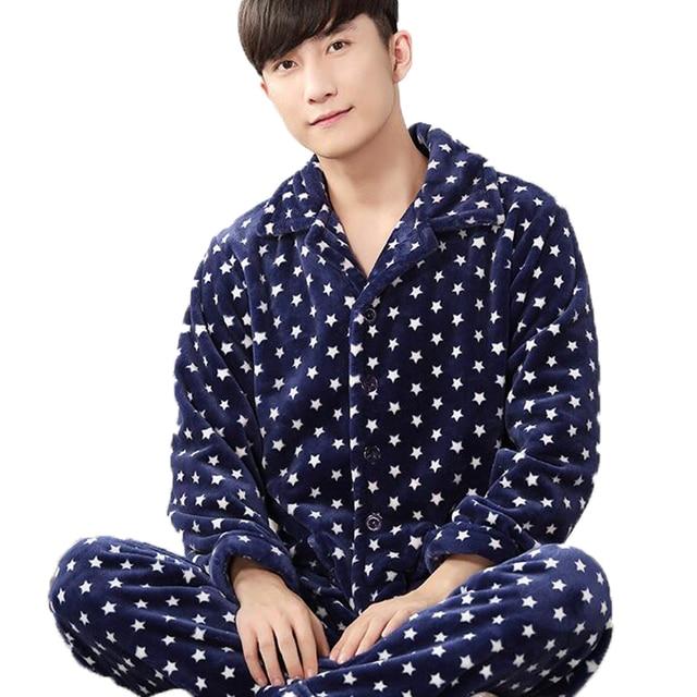 Pyjamas Men Autumn Winter Mens Flannel Pajama Sets Indoor Clothing Home Suit Men Print Long Sleeve Trousers Sleepwear Set