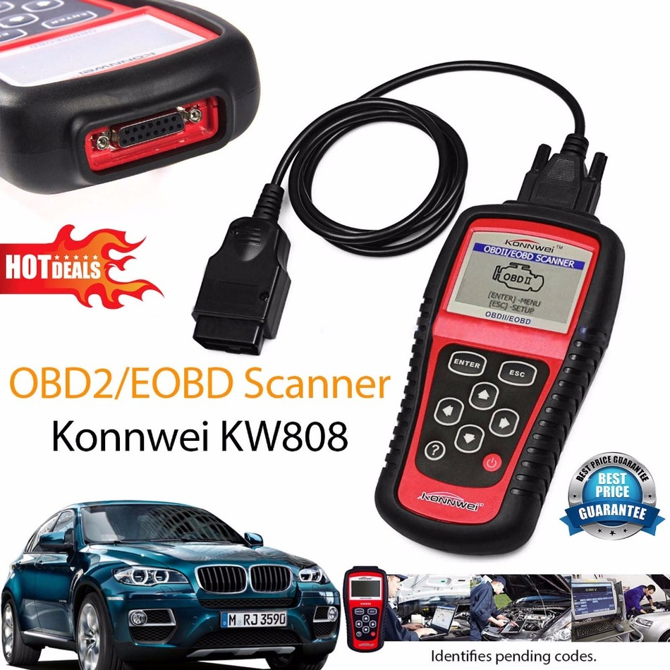 ФОТО Hot Sale OBD2 Scanner KW808 Car Diagnostic Code Reader CAN Engine Reset Tool KONNWEI Auto Scanner Coverage(us Asian & European)