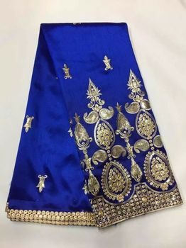 5 Yards/pc Elegant royal blue George lace fabric with small gold sequins embroidery african cotton lace for clothes JG5-1