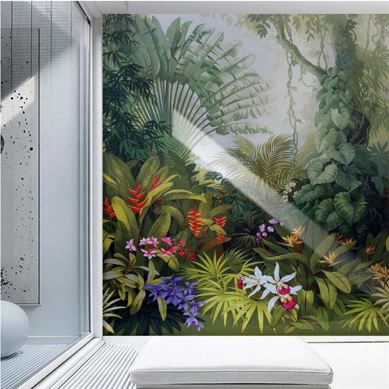 Купить с кэшбэком Beibehang Custom wallpaper home decor murals medieval tropical rain forest landscape television background walls 3d wallpaper