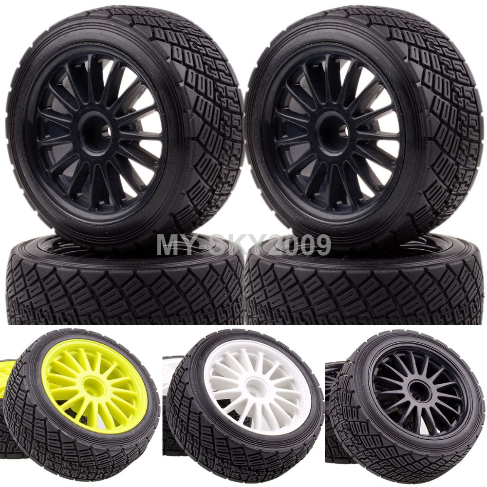 4pcs 2.2 Wheel Rims & Tires For 1/8 RC HPI Racing RTR WR8 3.0 Ford Fiesta Flux Rally 4pcs wheel rims