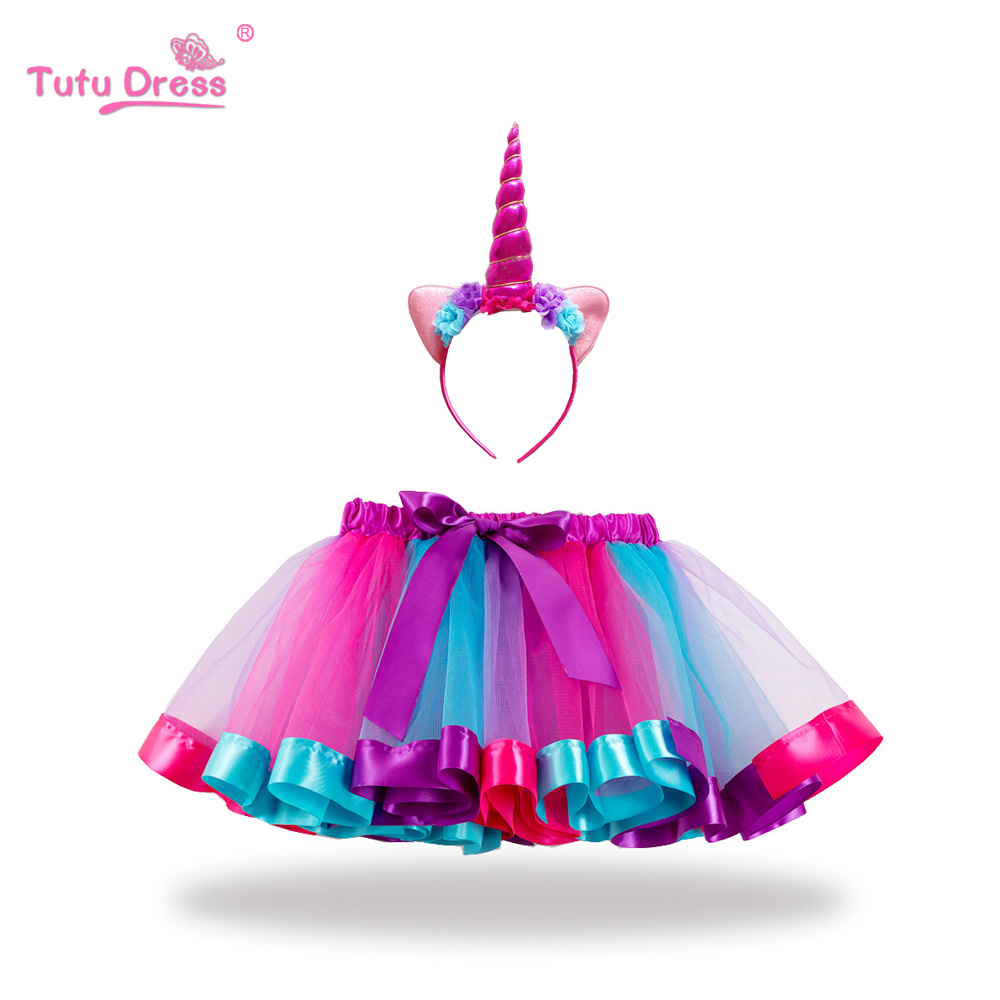 Fashion Sweet Toddler Kids Baby Girs Clothes Tutu Skirt Outfits Summer Cute Children Unicorn Tulle Skirt headband Rainbow Skirt ywhuansen 2018 new rainbow cotton skirt sequin embroidery baby girl skirt cute rabbit princess kid clothes tutu skirt tulle pink