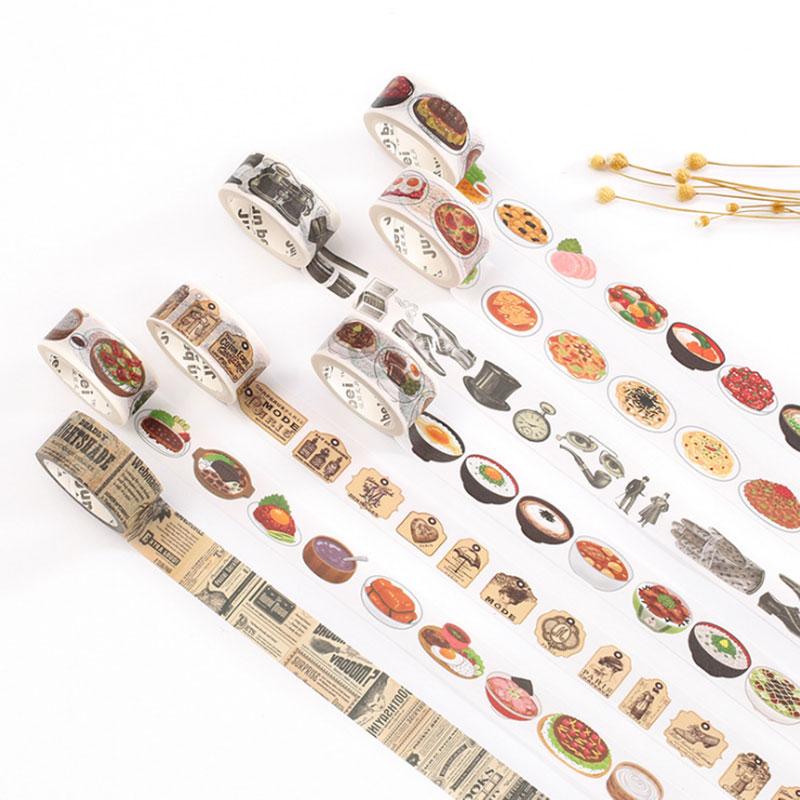 2 Cm X 7m Vintage Life Food Washi Tape Children Diy Diary Decoration Masking Tape Kawaii Stationery Scrapbooking Sticker Tools