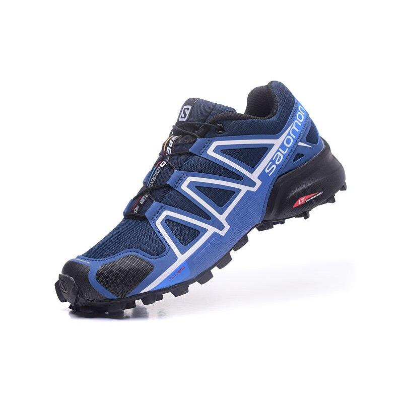 2019 Salomon Speed Cross 4 CS Zapatos de hombre chaussures de Course Bleu Noir Sneakers Homme Athletic Sport Chaussures Offre Spéciale