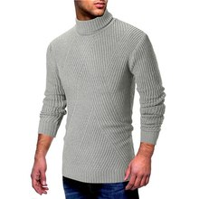 LAAMEI Autumn Winter Fashion Men Knitted Sweater Feather Slim Fit Warm Pullovers Men Cotton Sweater Solid Casual Turtleneck Tops(China)
