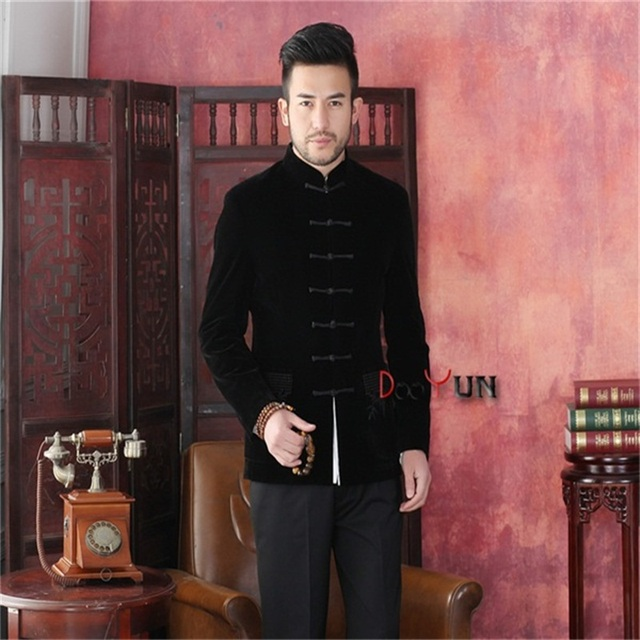 Spring Autumn New Black Chinese Traditional Men's Jacket Long sleeve Velvet Coat Tang Suit Free Shipping S M L XL XXL XXXL