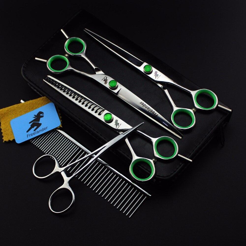 7inch Pet grooming scissors sets pet scissors STRAIHT THINNING CURVED scissors 3pcs set plus one comb