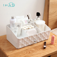 Double layer makeup organizer plastic box multi use drawer box jewelry cosmetic storage box home small items jewelry box case