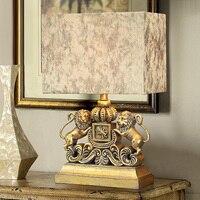 Modern A pair of lions Table Lamps Fashion Bedroom Bedside Lamp E27 Holder Reading Desk Lights abajur para quarto