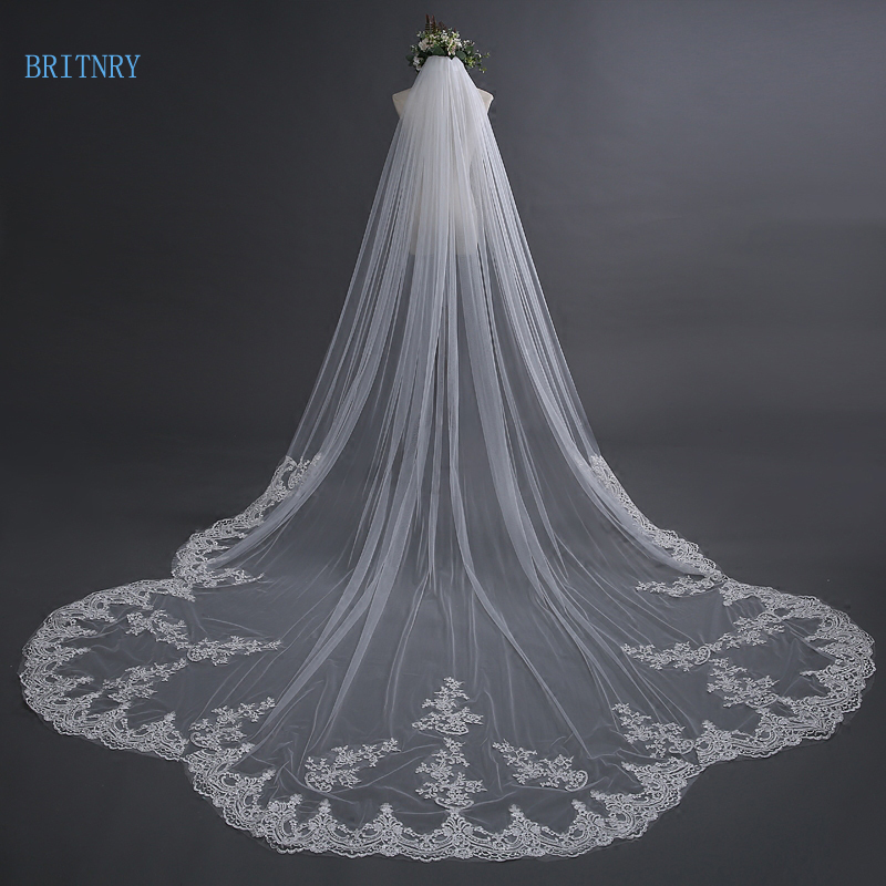 BRITNRY 3 Meter Ivory Cathedral Wedding Veil with Comb Long Lace Edge Bridal Veil High Quality Wedding Accessories Real Pictures