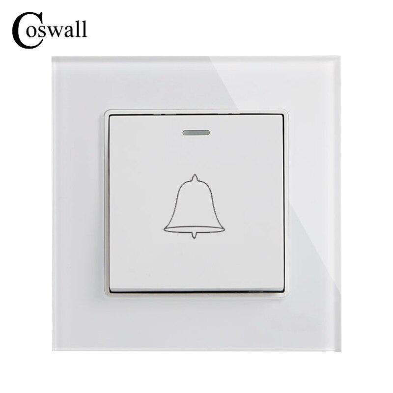 COSWALL 1 Gang Türklingelschalter Luxus Kristall Gehärtetem Glas Panel Taster Wand Schalter Interruptor 16A