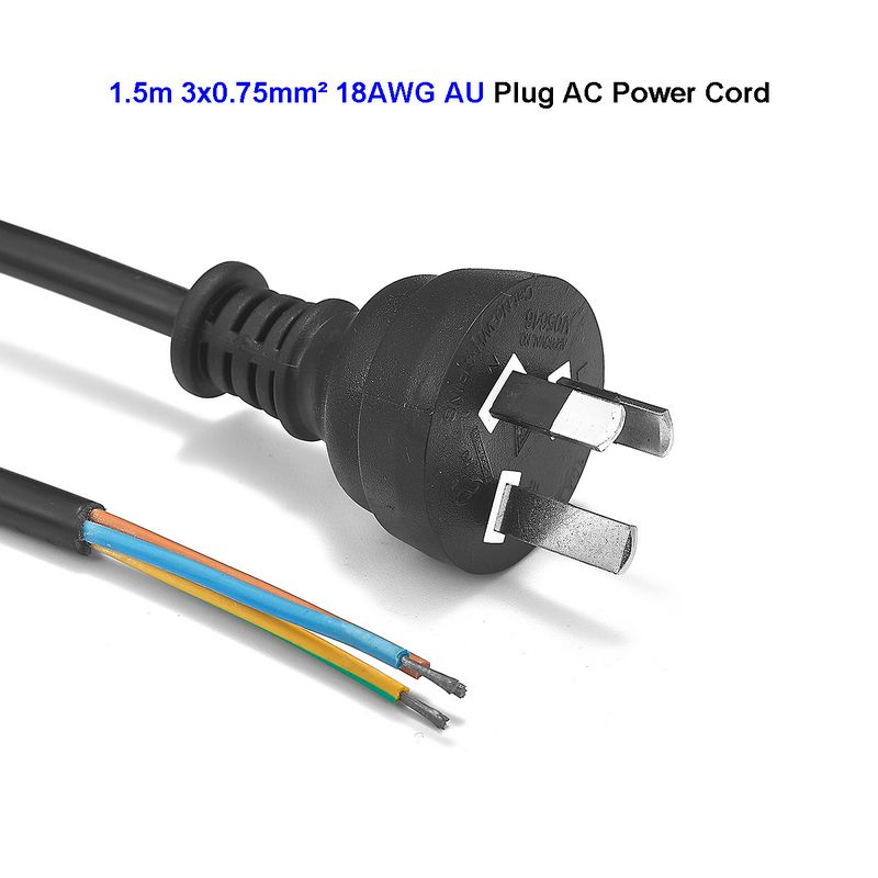 AU Australian Power Cord Australia Stripped Power Supply Lead Cable 1.5m 5ft 18AWG For Electric Sockets PC Computer PSU Antminer