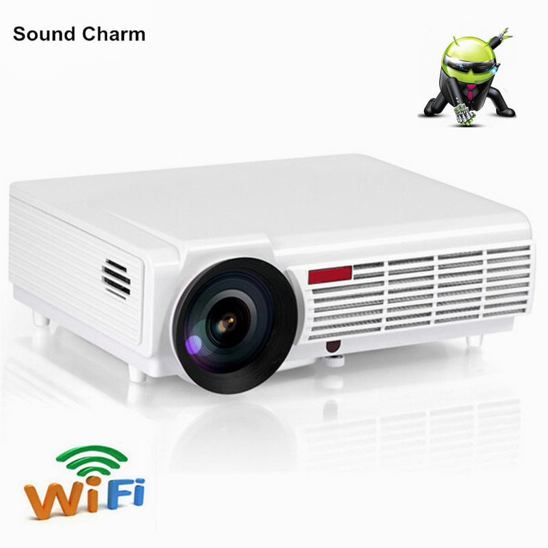 Drop shipping Brightest 5500Lumesn LED LCD home cinema Projector with built in Android 4.4 system TV 3D Full HD Projectors
