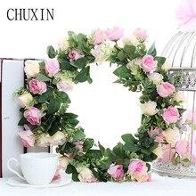 Artificial silk rose daisy wreath wedding scene decoration fake flower wreath seaside holiday headdress Valentine's Day gift