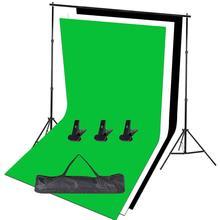 Zuochen Fotostudio Achtergrond Ondersteuning Stand Kit Zwart Wit Groen Achtergrondscherm Set