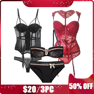 Image 5 - CINOON 3Piece Sexy Women Sets 2 Bustier and Corset +1Bra Set Female Solid Bustier Overbust Push Up Corset Fashion Underwear
