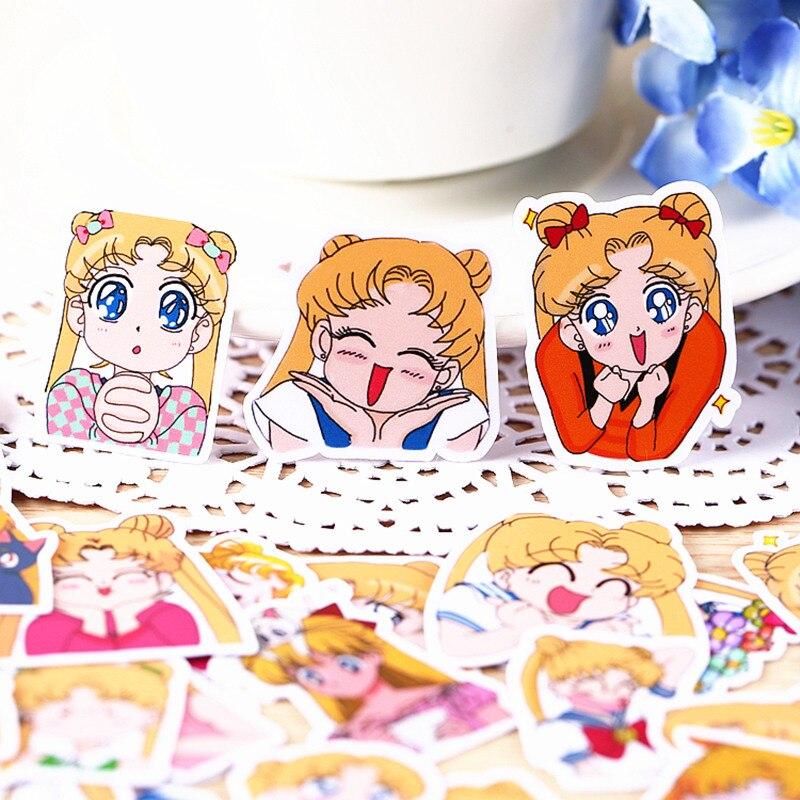 33pcs Set Anime Sailor Moon Sticker Cartoon DIY Scrapbook Craft Decor cosplay prop accessories