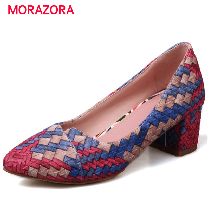 MORAZORA Pointed toe high heels shoes woman shallow PU party shoes wedding fashion women pumps large size 34-43 new spring summer women pumps fashion pointed toe high heels shoes woman party wedding ladies shoes leopard pu leather