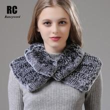 [Rancyword]  Women Wrap Winter Real Rex Rabbit Fur Shawls Wraps Female Natural Collar Neck Warmer Scarf Scarves New RC1390