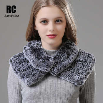 [Rancyword]  Women Wrap Winter Real Rex Rabbit Fur Shawls Wraps Female Natural Fur Collar Neck Warmer Scarf Scarves New RC1390 - DISCOUNT ITEM  39% OFF All Category
