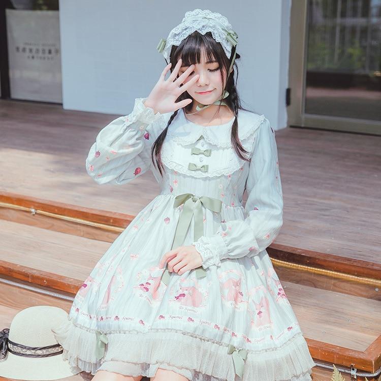 Japanese soft sister Dresses squirrel Cosplay Girl beautiful princess dress Pinewood Story Print High Waist Op Lolita dress