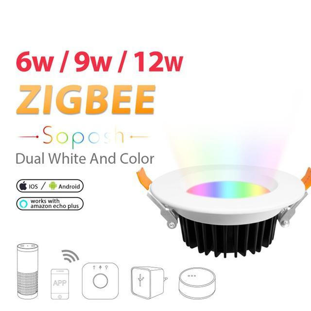 LED Downlight ZIGBEE Link Light Rgb+cct WW/CW Led LIGHT Zigbee Downlight Ceiling Light Work With Amazon Ecoh