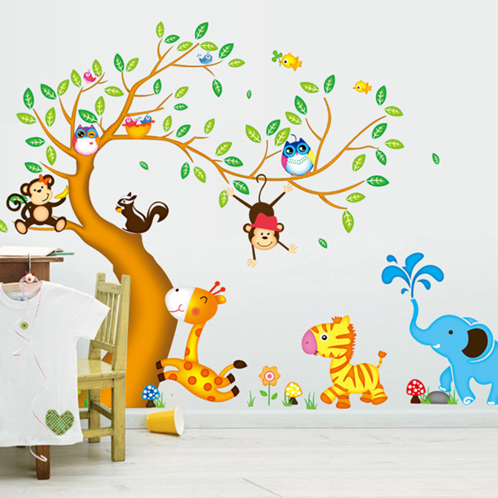 Monkey owl animals tree cartoon vinyl wall stickers for for Disney wall stencils for painting kids rooms