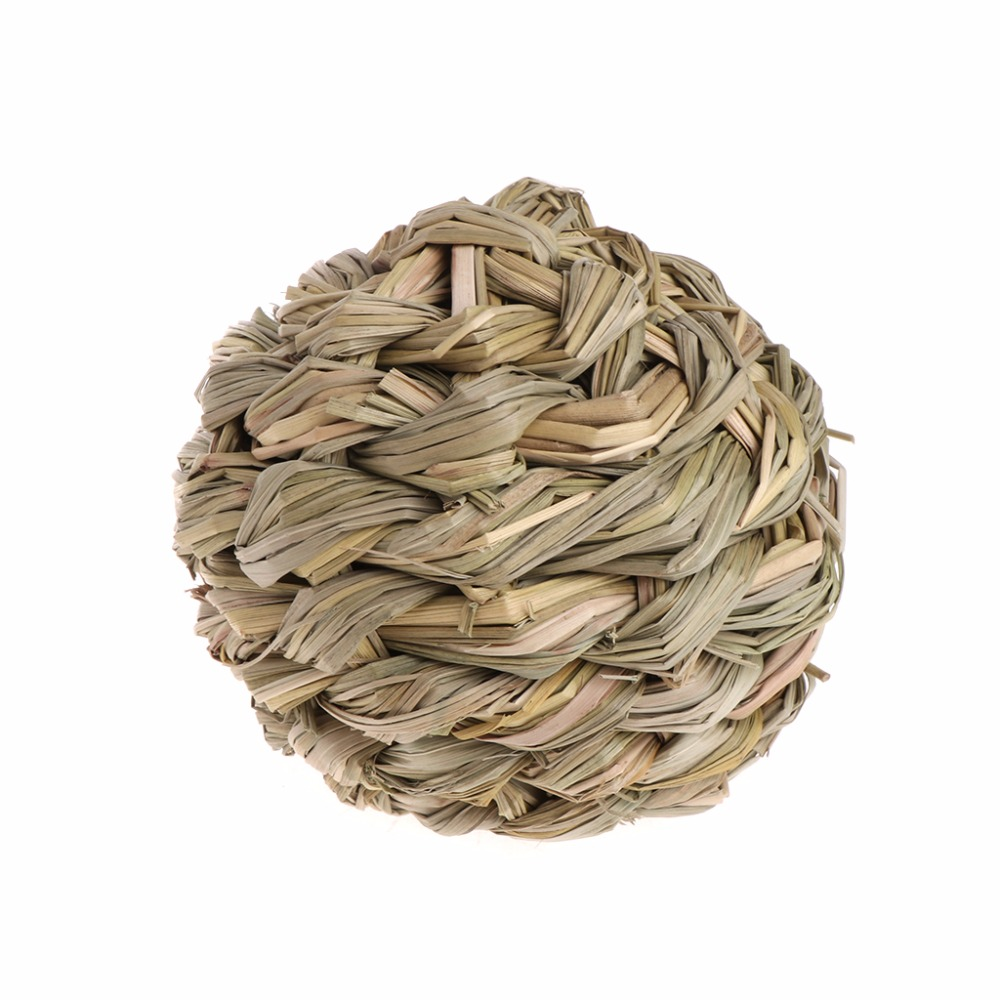 Home & Garden Pet Chew Toys Hamster Rabbit Guinea Pig Natural Grass Straw Woven Ball With Bell Pet Products
