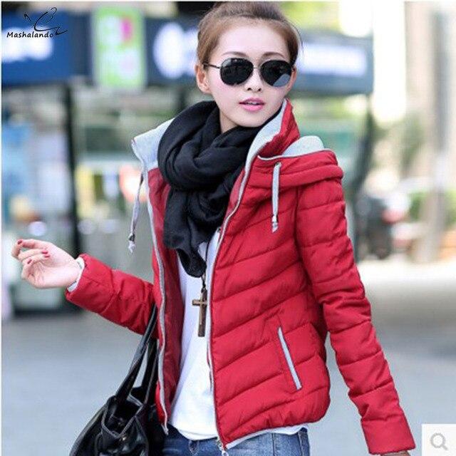 2016 женщины куртка 9 цвет большой размер женщин вниз пальто короткий тонкий капюшоном осень молния стенд с длинным рукавом вскользь стеганые chaquetas
