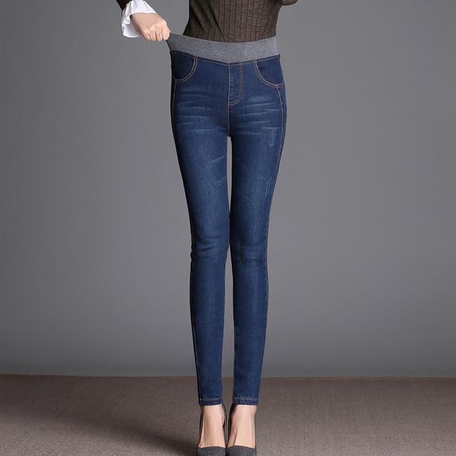4aca2705cc 2018 jeans Mujer nueva mujer casual elástico cintura estiramiento jeans más  tamaño 34 Delgado Denim largo