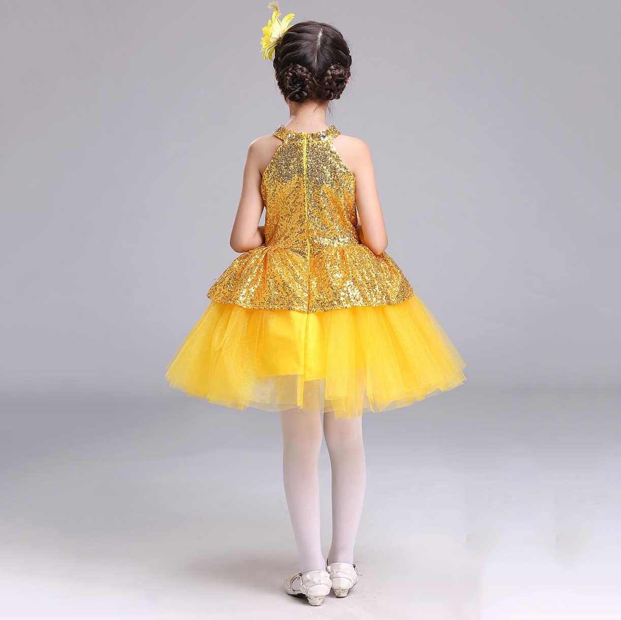 c0813acc59045 ... Children Summer Clothing Girls Bling Bling Sequins Top Graduation Party  Jazz Dance Dress Girls Kids 2 ...