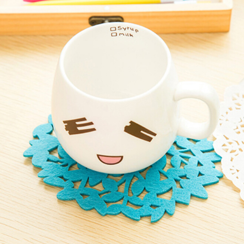 2018 Real Hot Sale Papel Rendado Placemats Table Mat Han Edition Lovely F267 Home Felt The Tree Modelling Cup Mat insulation Pad