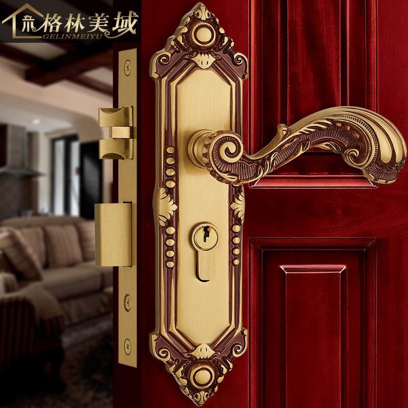 цена на European-style copper interior door lock bedroom retro door lock solid wood door lock American bathroom